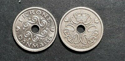 Large Denmark 1 Krone coin, dates vary 1992+