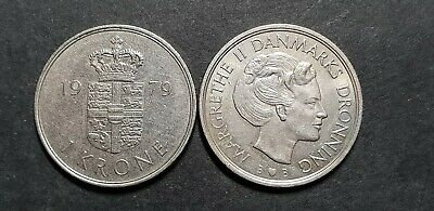 Large Denmark 1 Krone coin, dates vary 1973-89