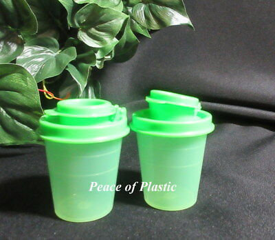 Tupperware New Personal Mini Midget 2 oz Green Salt & Pepper Shakers Green Seals