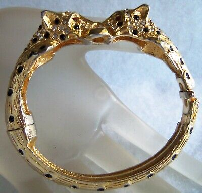 Antique Gold Plated Panther Head Hinge Bracelet Estate Jewelry  Old