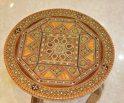 Wooden Mosaic Marquetry Syrian Side Table Round Table Handmade Inlay with Pearls