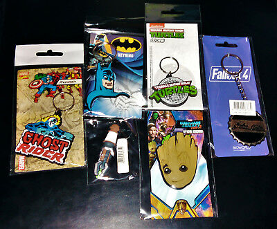 6 Exclusive ZBOX Keyring Zavvi TMNT Fallout Dr Who Ghost Rider Guardians Galaxy