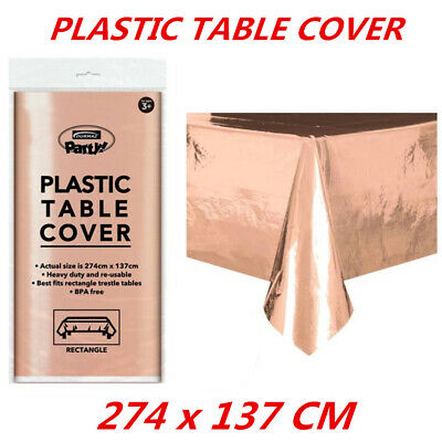 Wedding Party Metallic Rose Gold Table Cover Cloth Plastic Tablecloth Rectangle