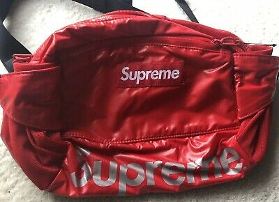 dddd622fde13 SUPREME RED LEOPARD FLEECE WAIST BAG,100% Authentic (FW/17) Red ...