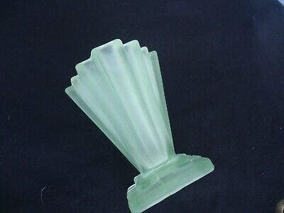vintage art deco green depression glass stepped vase