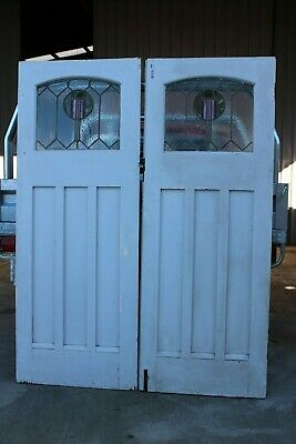Vintage Antique Pair Art Deco Interior Door French Lead Light Glass Wooden Timbe