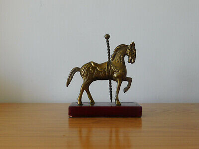 c.20th - Vintage French Solid Brass Horse Figure on Wooden Stand