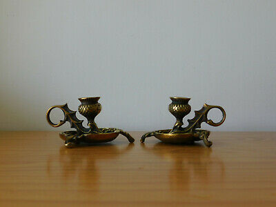 c.19th - Antique French France Bronze Small Candle Holder Sticks - Pair
