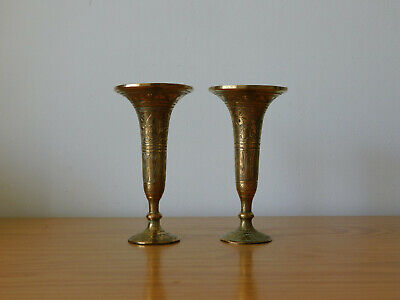 c.19th - Antique French Bronze Small Candle Holder Sticks - Pair