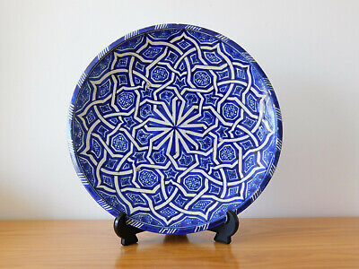 c.19th - Antique Persian Islamic Glazed Ceramic Pottery Blue Plate Charger
