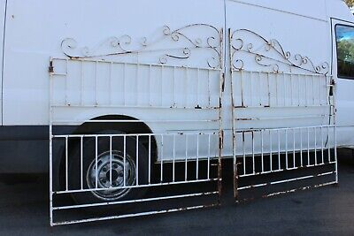 Pair Vintage Wrought Iron Front Gate French Provincial Curly Cast Garden Art