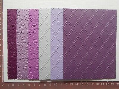 """CLEARANCE""    Embossed cardstock pieces - Card toppers, 2 designs, 6 colours"