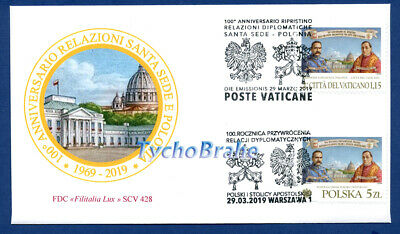 FDC RELACIONES DIPLOMÁTICAS 2019 JOINT First Day Cover VATICAN POLONIA FILITALIA