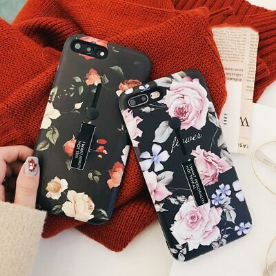 For iPhone X XS Max 8 Floral Slim Hybrid Ring Holder Kickstand Marble Case Cover