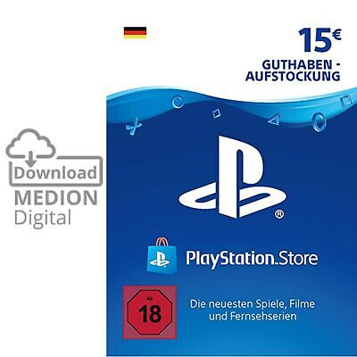 Sony Playstation Network Card 15EUR Euro PSN PS3 PS4 Vita Guthaben Download Code