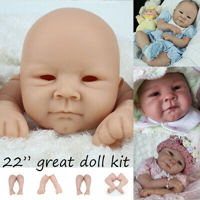 Unpainted Full Vinyl Silicone 3/4 Limbs Head Reborn Doll Kit for Artist Making