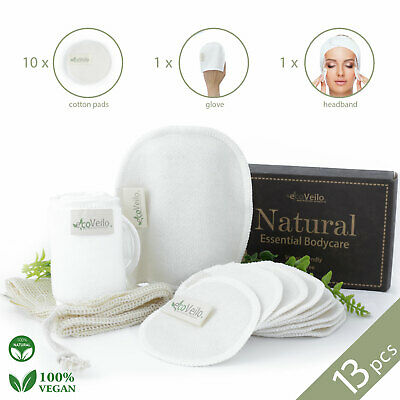 Reusable Make Up Remover Pads 10 Bamboo Removal Pads  Laundry Bag Headband Glove