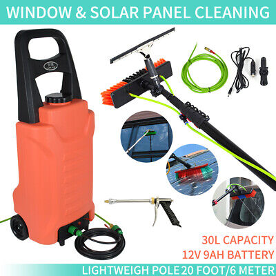 Solar Washing Tool 20ft Telescopic Water Fed Pole Brush kit Window Cleaning