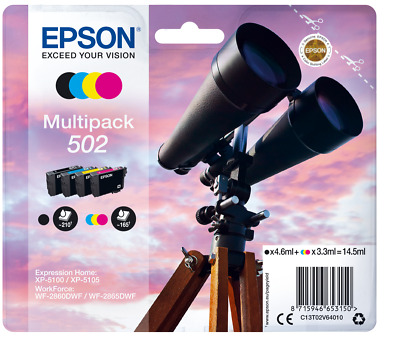 Original Epson 502 Multipack Binoculars Ink for XP-5100 WF-2860DWF Printers ^