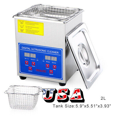 40kHz Digital Ultrasonic Cleaner Machine With Timer Heated Cleaning Device US
