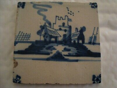 18th Century ceramic Delft tile depicting harbour building and boats   20/117