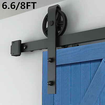 6.6 / 8 FT Steel Sliding Barn Door Hardware Rail System Track Kit Antique Style