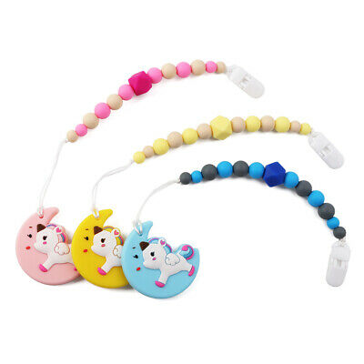 Infant Baby Teether Pacifier Chain Clip Silicone Soother Chewable Teething Toy
