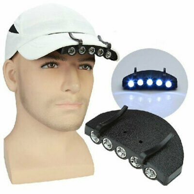 Clip-On 5 LED Cap Head Light Headlamp Torch Outdoor Fishing Camping Hunting Clev