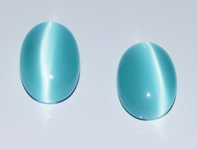 100% Natural Sky Blue Cats Eye Chrysoberyl 34-36 Ct Oval Gemstone Pair Certified