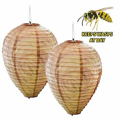 2 x Decoy Paper Anti Wasp Nest Simulated Deterrent Hanging Territorial Insect Pr
