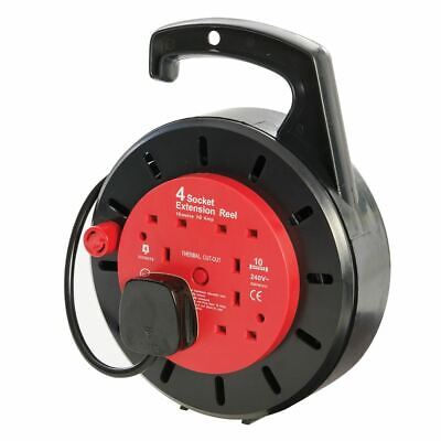 PowerMaster 619747 4-Gang 10m Cassette Cable Reel 230V