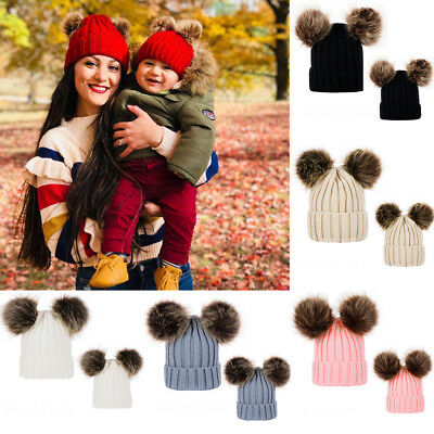 Latest Mom&Newborn Boy Girls Warm Double Fur Pom Bobble Knit Beanie Hat Cap