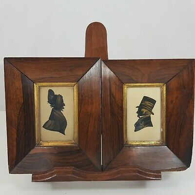 Antique Pair 19th Century Silhouette Portraits Man Wife Gentleman Rosewood Frame