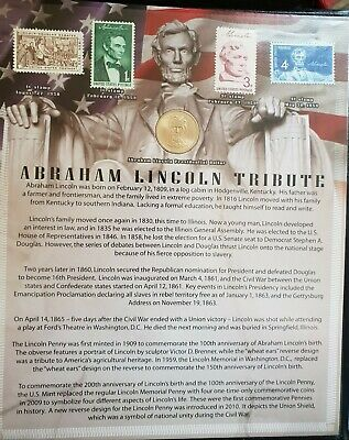 New Abraham Lincoln Tribute Set $5 Red Seal 9 Coins 4 Stamps.....