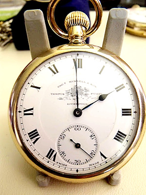Antique Gold Fill  Thomas Russell Pocket Watch  9 Jewels  Beautiful  C1900