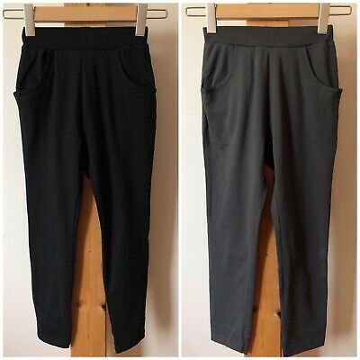 New Girls 2x Baggy Joggers Black Dark Grey With Pockets 130cm 7-8 Years