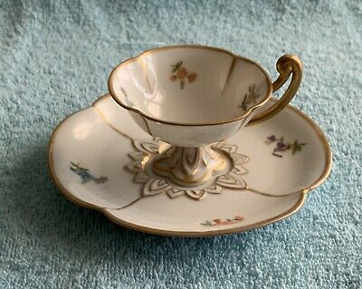Antique Fraureuth Saxony Hand-Painted Footed Porcelain Demitasse Cup/Saucer