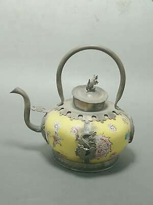 Old decorate Chinese Handwork Copper Ironclad Dragon Inlaid Porcelain Teapot