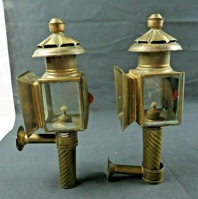 Antique Pair of Coach Lantern oil Lamps Brass Copper English