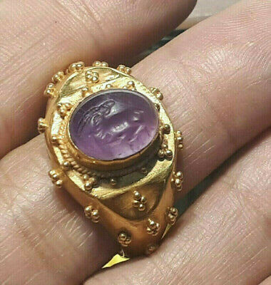 Ancient Amethyst Intaglio Long Horn Turning Head Ram Solid Gold 22k Roman Ring
