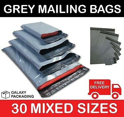 30 MIXED SIZES GREY MAILING POSTAGE POSTAL BAGS 55mu - 10 Each of 6x9 9x12 10x14