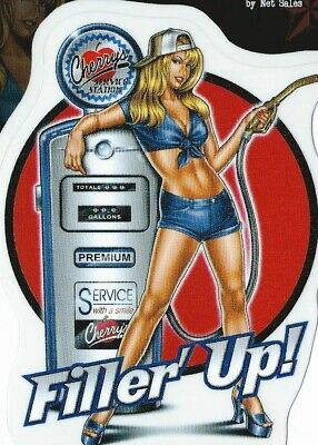 Autocollant Sexy Pin Up Filler' Up - Sticker Vinyl Decoration Usa / Vintage