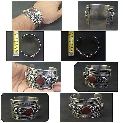 Adjustable Silver plated Beautiful Afghani Bangle With Red Agate Stone #761