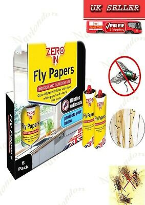 Zero In Fly Papers (Pack of 8) Cost-effective Fly Killer  With Clean White Paper