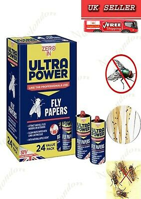 Zero In Fly Papers (Pack of 24) Cost-effective FlyKiller  With Clean White Paper