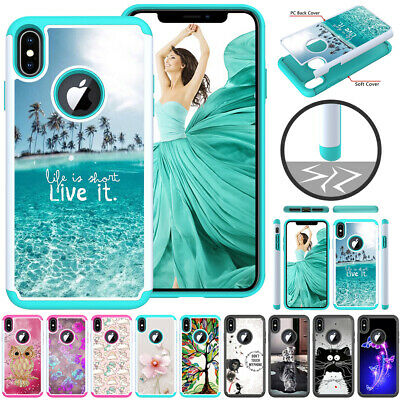 For iPhone XS Max XR 8 7 6s Hybrid Silicone Armor Rugged Rubber Case Back Cover