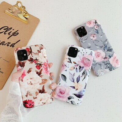For iPhone XS Max XR X 8 6s 7+ Matte Peony Pattern Silicone Soft Slim Case Cover
