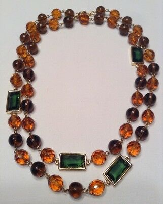 Rare Vintage MONET Jewelry 34 Inch Beaded Necklace Glass Beads Green Crystals