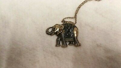 Elephant necklace gold coloured metal/detail modern Exc Cond L@@K