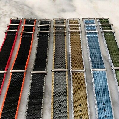 Premium Contrast Colour Edged Seatbelt NATO Watch Strap 20mm/22mm